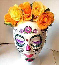 Day of the Dead Orange and Yellow Rose Floral Crown Headband Frida Dia De Los Muertos Sugar Skull Halloween  - Sweet Sugar Skull Rose Crown