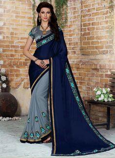 Flattering Net Embroidered Work Designer Saree