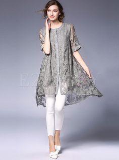 Shop Sexy O-neck Loose Half Sleeve Asymmetric Shift Dress at EZPOPSY. Stylish Dresses For Girls, Casual Dresses, Trendy Outfits, Kurta Designs Women, Blouse Designs, Boho Fashion, Fashion Dresses, Womens Fashion, Elisa Cavaletti
