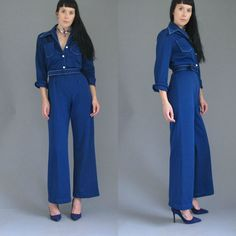 1970's Navy Blue TOP STITCH Detail Vintage Jumpsuit Big Collar Flared Leg Belted S // M
