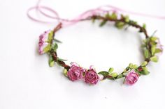 fairy flower crown / dainty pink rose floral hair wreath headband, halo, bridal, wedding, festival, party, summer, spring.