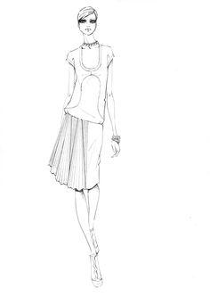 Chic fashion illustration - fashion design sketch // Alessandra Facchinetti
