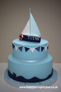 Nautical themed Christening cake with bunting and yacht Dad Birthday, Birthday Ideas, Sailboat Cake, Beach Themed Cakes, Christening Cakes, Cakes For Boys, Decorated Cakes, Celebration Cakes, Bunting