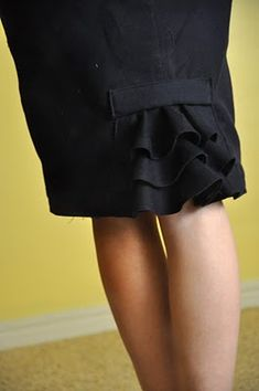 ugly skirt to pencil skirt with ruffle at back