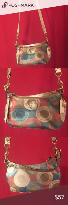 Pastel Coach Crossbody Outside needs cleaning. Comes with tags and original care/authentication card. Great condition. Detachable crossbody strap. About 11 inches wide. Coach Bags Crossbody Bags