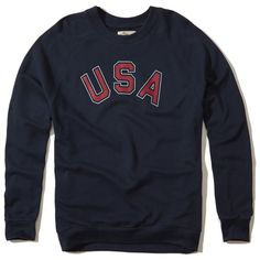 Hollister Graphic Boyfriend Sweatshirt (€27) ❤ liked on Polyvore featuring tops, hoodies, sweatshirts, navy, crew neck sweatshirts, american sweatshirt, crewneck sweatshirt, navy crewneck sweatshirt and navy blue sweatshirt