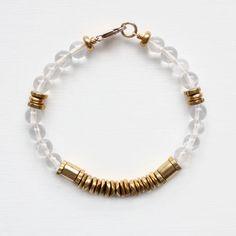 crystal quartz & brass bracelet. TheVamoose $38.91