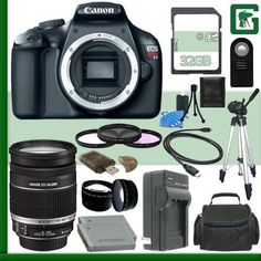 Canon EOS Rebel T3 Digital SLR Camera and Canon 18-200mm Lens + 32GB Green's Camera Package 1