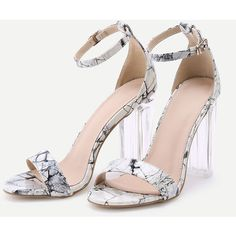 SheIn(sheinside) Marble Print Patent Leather Two Part Heeled Sandals ($36) ❤ liked on Polyvore featuring shoes, sandals, patent sandals, patent leather shoes, heeled sandals, marble shoes and patent shoes