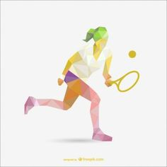 Geometry drawing of tennis woman player