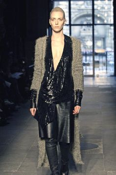 sequins and leather top, nix envelope hang-over...cardigan in boucle, below knee.... haider ackermann ss2005