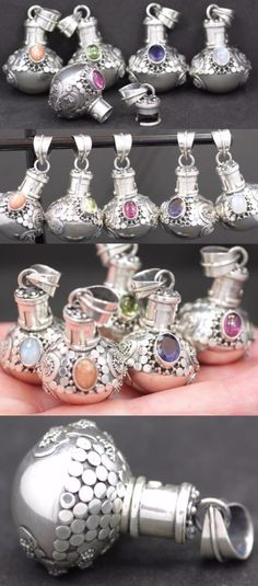 Pendants and Lockets 45079: Handmade 5X Sterling Silver .925 Round Bali Urn/Perfume Pendants W Gemstone. BUY IT NOW ONLY: $149.8
