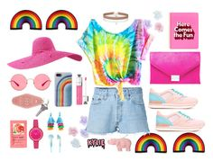 """""""Cheerful ( Pride Contest )"""" by putriwindianar ❤ liked on Polyvore featuring Monsoon, RE/DONE, Hogan, ban.do, Loeffler Randall, Ray-Ban, Marc Jacobs, Miss Selfridge, H&M and KRISVANASSCHE"""