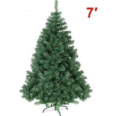 NEW Artificial Christmas Tree 7 ft Spruce Metal Stand Folding Realistic PINE Green1000 tips ** Want to know more, click on the image.