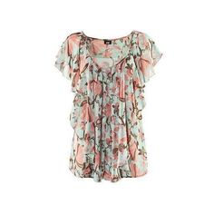 Bohemian Flower Flounced Chiffon Shirt - Polyvore so cute but a little too pricey for me $32