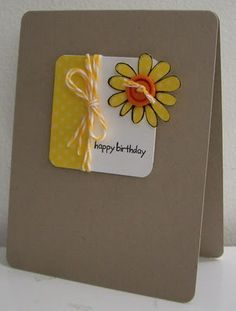 mini birthday sunflower note card with twine