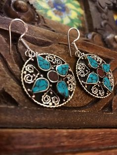 Tibetan Vintage Large Statement Handmade Earrings Ethnic tribal earrings Boho earrings Stone earrings Oriental earrings Tribal jewelry by Omanie on Etsy
