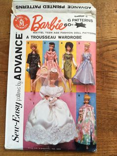 Barbie Wardrobe - Advance Pattern - Mattel - 1962 - 6 patterns/outfits: bridal gown, dress, jacket, nightgown, peignor - a trousseau by ChillyPumpkin on Etsy