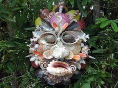 "Beach Decor Shell Art Mask, 'Beachnik"""