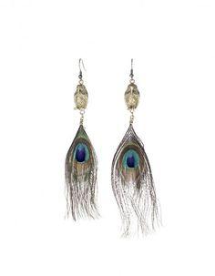 Boucles d oreilles plumes de paon Alkemie Jewerly