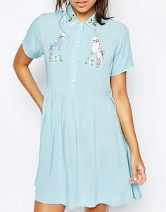 Image 3 ofLazy Oaf Button Front Shirt Dress With Retro Bird Print