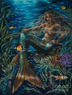 """After a month of many hours of painting, """"Sea Jewels"""" is complete. It is a heavy gallery wrap that is and displays the fantasy of a coral reef and all the brilliant colors within. This is actually a darker painting but with touches of brilliance. Siren Mermaid, Mermaid Fairy, Mermaid Tale, Black Mermaid, Tattoo Mermaid, Mermaid Artwork, Mermaid Drawings, Mermaid Paintings, Fantasy Mermaids"""