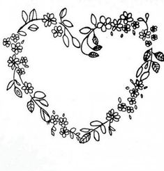 Black flowered heart We all love burning flowers, don't we? Embroidery Hearts, Hand Embroidery Stitches, Ribbon Embroidery, Embroidery Designs, Burning Flowers, Wreath Drawing, Heart Patterns, Cute Tattoos, Tatoos