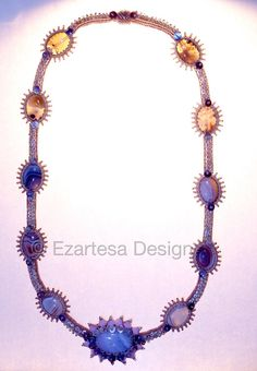 Pastel Color Bridal Necklace for Beach Wedding by Ezartesa. Blue lace Agate, Botswana Agate, Oyster Shell Heishi and glass seed bead necklace for bohemian bride.
