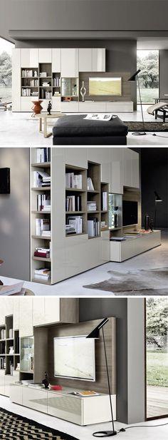 Die Moderne Wohnwand Mit Bücherregal Und TV Paneel Sorgt Für Ein  Harmonisches Wohnambiente Mit Viel Eleganz