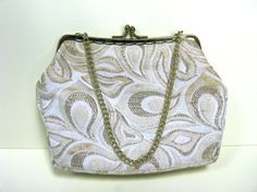 Cream Evening Bag Cream and Gold Bag by MissieMooVintageRoom