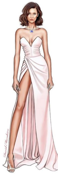 Bella Hadid in Alexandre Vauthier at cannes 2017 digital drawing by David Mandeiro