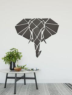 Geometric Wood Art | Geometric Elephant Wall Decor| Polygon Animal Wall Art | Origami Wall Hanging | Geometric Wall Art | Mosaic Wall Art