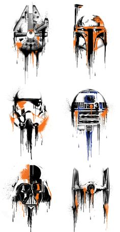 This is Star Wars Art! Milennium Falcon, Boba Fett, Stormtrooper, R2-D2, Tie Fighter, and Darth Vader. Star Wars Has Never Looked so Good!