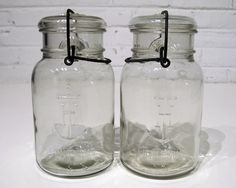 Vintage RARE ANCHOR HOCKING Clear Lightning Jars by rainbowrewind, $22.00