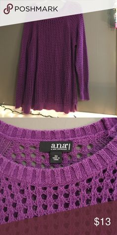 Purple Sweater Purple sweater. Willing to trade for makeup, don't be afraid to offer! Ana Sweaters Crew & Scoop Necks