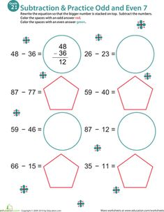Practice Subtraction & Odd/Even - 2nd Grade Worksheets | Education.com