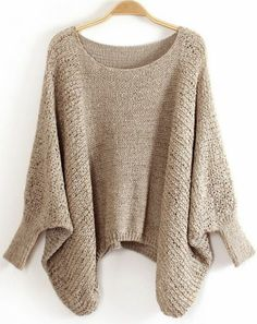 Khaki Batwing Sleeve Hollow Loose Sweater pictures