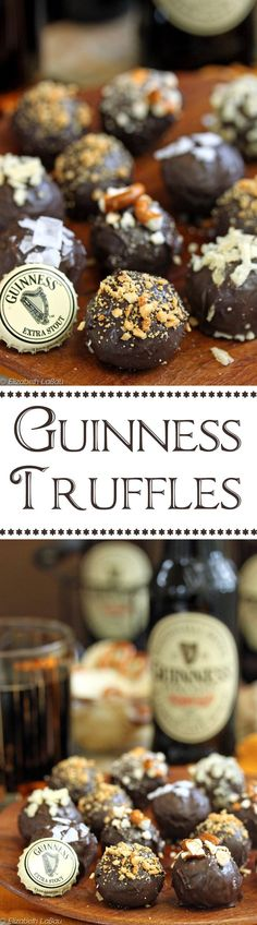 Truffles Guinness Truffles - rich, luscious homemade chocolate truffles with Guinness mixed right in. Perfect for any beer lover! Beer Recipes, Irish Recipes, Candy Recipes, Dessert Recipes, Guinness Recipes, Dark Chocolate Truffles, Chocolate Brownies, Chocolate Covered, Gastronomia