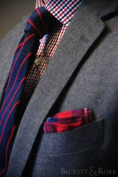 Gray suit w red blue gingham, tie, and pocket square