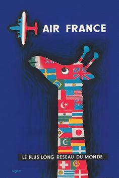Antiques Air France Postcard Original Carlu 1957 Europa Elegant And Sturdy Package