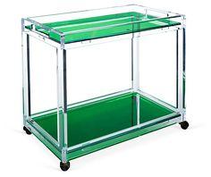 Timothy Whealon Bar Cart, Emerald/Clear   Total Transparency   One Kings Lane