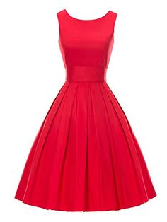 Luouse 'Lana' Vintage 1950's Inspired Rockabilly Swing Dress, Red FBA, X-Large