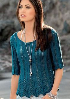 Sweater Knitting Patterns, Knit Patterns, Summer Knitting, Baby Knitting, Crochet Woman, Knit Crochet, Sweater Fashion, Crochet Clothes, Clothes For Women