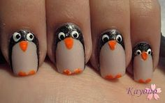 penguin nail art video (Diy Tech Nail Polish)