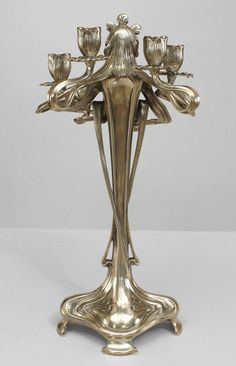Pair of Silvered Art Nouveau Candelabra By WMF image 6