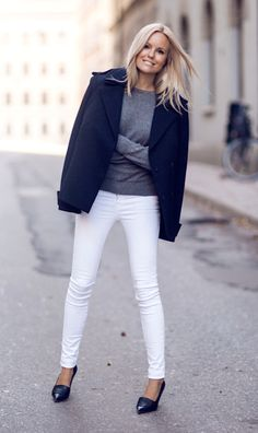 clean & simple - gray cashmere sweater, white pants or jeans, navy blue blazer, navy flats