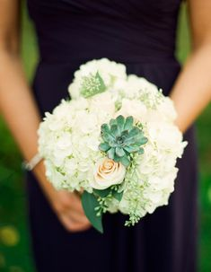 Hydrangea and Succulent Bouquet | photography by http://www.lindsaymaddenphotography.com/