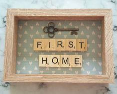 First Home Scrabble Art Picture, Oak Effect Frame, Wall Art, Scrabble Tiles, Scrabble Tiles, Ready To Ship by SarahLovesCraftsShop on Etsy