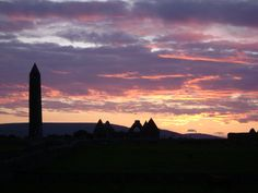 Sunset strewn skies over Kilmacduagh County Galway Round Tower, Hidden Places, Dusk, Ireland, Meditation, Places To Visit, Tours, Sunset, Spiritual