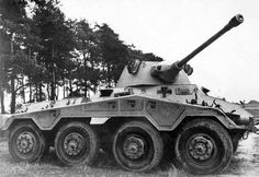 The heavy eight-wheeled Puma scout car with rotatable enclosed tower carries a 50 centimeter gun. The crew consists of a commander, gunner, driver, and a rear driver who is also the radio operator. Due to the possibility to move backwards and. Luftwaffe, Osprey Aircraft, Armored Vehicles, Armored Car, Armoured Personnel Carrier, Ww2 Tanks, Lifted Ford Trucks, Military Equipment, German Army